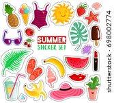 set of trendy summer stickers... | Shutterstock .eps vector #698002774