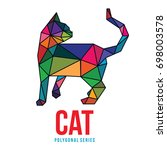 low poly triangle logo icon cat ... | Shutterstock .eps vector #698003578
