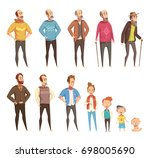 men generation flat colored... | Shutterstock .eps vector #698005690