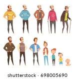 men generation flat colored... | Shutterstock .eps vector #698005690