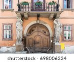 wooden gate with caryatids and... | Shutterstock . vector #698006224