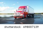 semi trailer  truck on the road ... | Shutterstock . vector #698007139