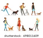 Stock photo animal friendship happy people walking with funny dogs illustrations in cartoon style dog and man 698011609