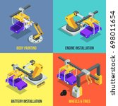car production phases.... | Shutterstock . vector #698011654