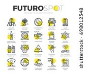 stroke line icons set of future ... | Shutterstock .eps vector #698012548