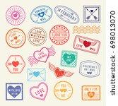 vintage romantic postal stamps. ... | Shutterstock . vector #698013070