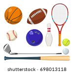 sports equipment in cartoon... | Shutterstock . vector #698013118