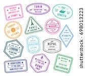 stamp in passport for... | Shutterstock . vector #698013223