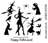 a set of silhouettes of witch ...   Shutterstock .eps vector #698015098