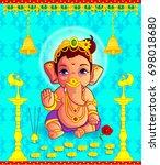 illustration of lord ganpati... | Shutterstock .eps vector #698018680