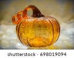 Orange Glass Pumpkin With Stem.