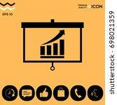 projector screen with growing... | Shutterstock .eps vector #698021359