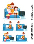 boy on a sofa. staying at home... | Shutterstock .eps vector #698022628