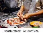 italian food cooking pizza   Shutterstock . vector #698024926