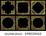 art deco nouveau border frames... | Shutterstock . vector #698028463