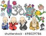 selection of hand drawn images... | Shutterstock .eps vector #698029786
