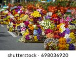 the annual flower parade ... | Shutterstock . vector #698036920