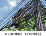 line communication on the pole | Shutterstock . vector #698040598
