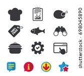 chief hat and cooking pan icons....