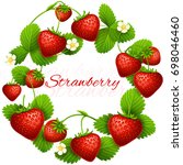 juicy strawberry frame wreath.... | Shutterstock . vector #698046460