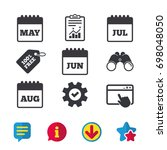 calendar icons. may  june  july ...