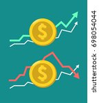 a set of gold coins icons with... | Shutterstock .eps vector #698054044