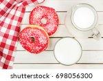 donut  milk  glass  jar  top... | Shutterstock . vector #698056300