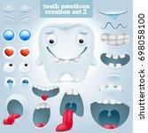 creation set of cartoon tooth... | Shutterstock .eps vector #698058100
