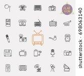 vintage retro line icon set | Shutterstock .eps vector #698063140