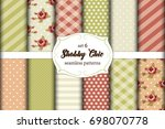 set of 12 cute seamless shabby... | Shutterstock .eps vector #698070778