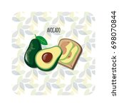 avocado toast. fresh toasted... | Shutterstock .eps vector #698070844