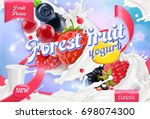 forest fruit yogurt. mixed... | Shutterstock .eps vector #698074300