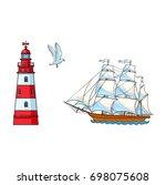beautiful sailing ship ...   Shutterstock .eps vector #698075608