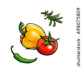 whole ripe tomato  bell and... | Shutterstock .eps vector #698075809