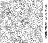 tracery seamless pattern.... | Shutterstock .eps vector #698076058