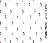 tender red roses on white... | Shutterstock .eps vector #698076190