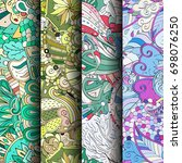 set of tracery colorful... | Shutterstock .eps vector #698076250