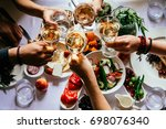 party dinner table  celebrating ... | Shutterstock . vector #698076340