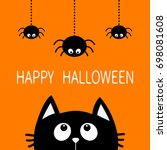 happy halloween. black cat face ... | Shutterstock .eps vector #698081608