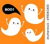 flying ghost spirit set. three... | Shutterstock .eps vector #698081800