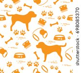 cute seamless pattern with dog... | Shutterstock .eps vector #698085370