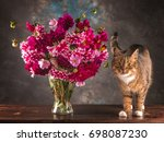 Funny Cat And Autumn Flowers....