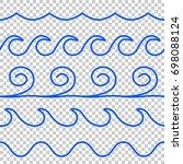 seamless vector blue wave line... | Shutterstock .eps vector #698088124