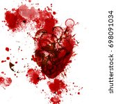 abstract ink blotch. scanned... | Shutterstock . vector #698091034