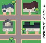 pixel art neighborhood  houses  ... | Shutterstock .eps vector #698091253
