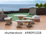 antique bench on the embankment ... | Shutterstock . vector #698091328