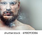 portrait of strained  focused... | Shutterstock . vector #698093086