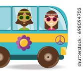 van with flower and hippie... | Shutterstock .eps vector #698094703
