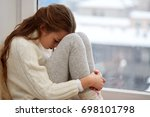 childhood  sadness and people... | Shutterstock . vector #698101798