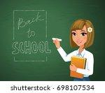 back to school concept. happy... | Shutterstock .eps vector #698107534